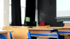 Wooden benches for pupils in class Stock Footage