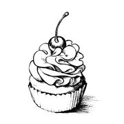 Hand drawn cupcake  for coloring book Stock Illustration