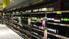 Department wine shop in the supermarket Stock Footage