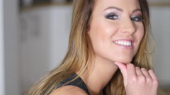 Beautiful face and smile fashion girl close up shallow focus Stock Footage