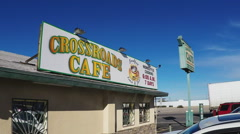 Crossroad Cafe- Mom And Pop Diner Restaurant Sign- Parker AZ Stock Footage