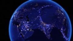 Global communications through the network of connections over Asia. Stock Footage