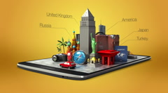 Touched city travel application, summer vacation, tour on mobile, smart phone 1 Stock Footage