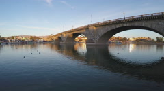 London Bridge In Late Afternoon Light- Lake Havasu City AZ Stock Footage