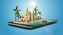 Touched vacation travel application, summer tour on mobile, smart phone. Stock Footage