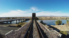 Railroad And Automotive Bridges Over Colorado River- Parker AZ Stock Footage