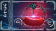 Nano robot and blood cell injection. Medical concept anatomical future Stock Footage