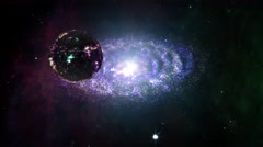 4K Alien Space Station and Spiral Nebula Clouds in Galaxy 1 - stock footage