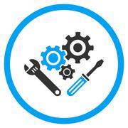 Mechanics Tools Rounded Icon - stock illustration