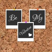Photos on cork with an inscription Be My Valentine Stock Illustration