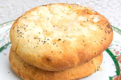 Jewish onion bread - Pletzel - stock photo