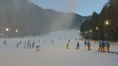 Crowded ski slope in Poiana Brasov, Romania Stock Footage