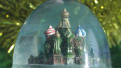 Christmas snow globe with the snow Stock Footage