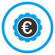 Euro Reward Seal Rounded Icon - stock illustration