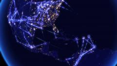 Global communications, network of connections over North and South America. Stock Footage