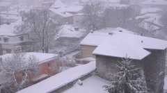 Houses roofs covered by white snow, winter holiday scene, rural background 4K - stock footage
