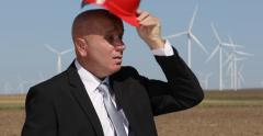 Financial Investor Visit Wind Farm Power Plant Thirsted Businessman Drink Water Stock Footage