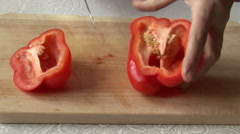 cutting Bell pepper. - stock footage