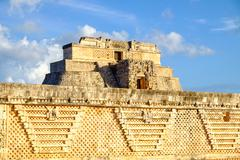 Detail of ancient Mayan architecture in Uxmal archeological site Stock Photos