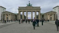 9 Berlin German City Germany Brandenburg Gate Tourists People Monument Stock Footage