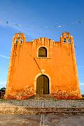Typical colonial church in rural Mexican village Santa Elena - stock photo