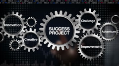 Gear, challenge, innovation, creative, adventure, improvement, 'SUCCESS PROJECT' - stock footage