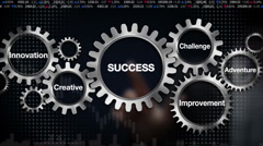 Gear,challenge, innovation, creative, adventure, improvement, 'SUCCESS' - stock footage