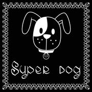 Vector image of dog on black background. - stock illustration