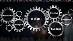 Gear, Research, Analysis, Creative, Innovation, Success. 'IDEAS' - stock footage