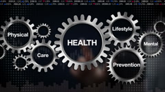 Gear, Care, Lifestyle, Prevention, Physical, Mental. 'HEALTH' - stock footage