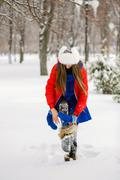 Stock Photo of Attractive young woman in wintertime outdoor