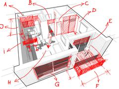 Apartment diagram with hand drawn architect`s notes Stock Illustration