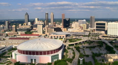 Flying southeast from Georgia Dome in Atlanta. Shot in 2007. Stock Footage