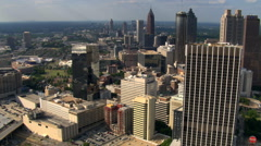 Flying north over skyscrapers in Atlanta, Georgia. Shot in 2007. - stock footage