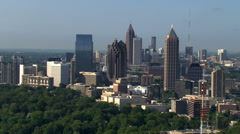 Slow flight north of Midtown Atlanta, Georgia. Shot in 2007. - stock footage