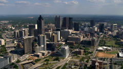 Flight over west side of Downtown Atlanta, Georgia. Shot in 2007. Stock Footage