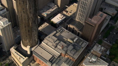 Flight looking down between buildings in Atlanta, Georgia. Shot in 2007. Stock Footage