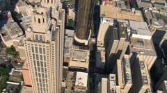 Close orbit above Downtown Atlanta, Georgia. Shot in 2007. Stock Footage