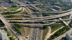 Looking down onto freeway interchange in Atlanta, Georgia. Shot in 2007. Stock Footage