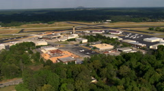 Wide aerial view of DeKalb Peachtree Airport near Atlanta, Georgia. Shot in Stock Footage
