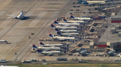Aerial view of jets parked at Hartsfield-Jackson Atlanta International Airport. Stock Footage