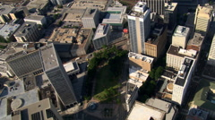Flying southwest over Five Points area in Atlanta, Georgia. Shot in 2007. - stock footage