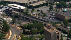 MARTA station in Atlanta, Georgia, from the air. Shot in 2007. Stock Footage
