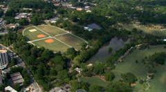 Flying over Piedmont Park in Atlanta, Georgia. Shot in 2007. - stock footage