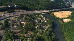 Flight following Chattahoochee River near Atlanta, Georgia. Shot in 2007. Stock Footage