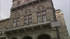 Karajan Platz sign in front of the Vienna State Opera - stock footage