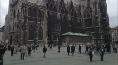 Tilt-up on St. Stephen's Cathedral from Cathedral Square, Vienna Stock Footage