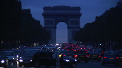 Evening traffic on the Champs Elysees, Paris Stock Footage
