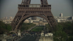 Tilt-up on Eiffel Tower, Paris Stock Footage