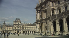Courtyard of the Louvre, Paris Stock Footage